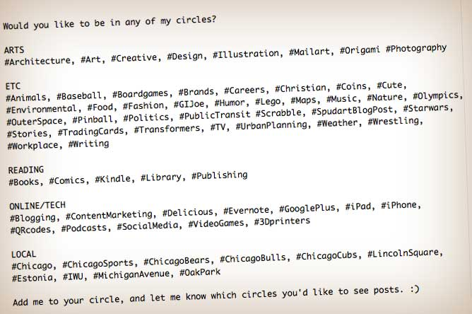 Would you like to be in any of my circles?