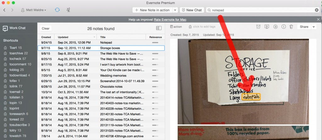 How Evernote could find my IRL items in storage