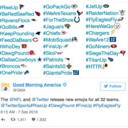 NFL team hashtag emoji