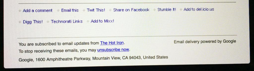 Photo of Google Feedburner email footer