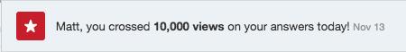 10,000 views on Quora