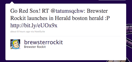 Go Red Sox! RT @tatumsqchw: Brewster Rockit launches in Herald boston herald :P http://bit.ly/eUOx9x
