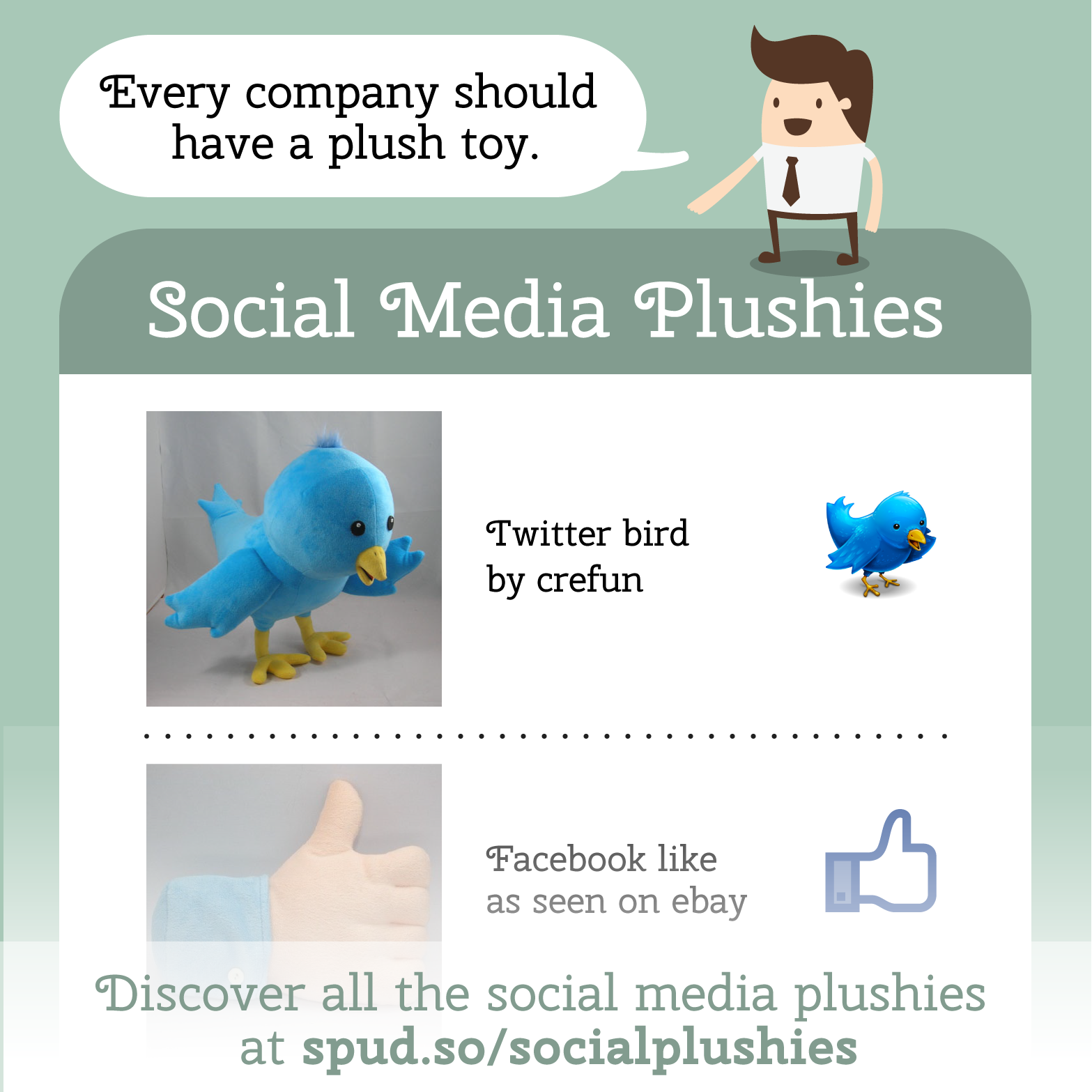 Plush toys for Twitter, Facebook, Instagram, Hootsuite, and Reddit