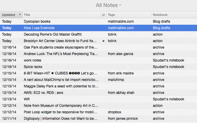 The latest notes from my Evernote