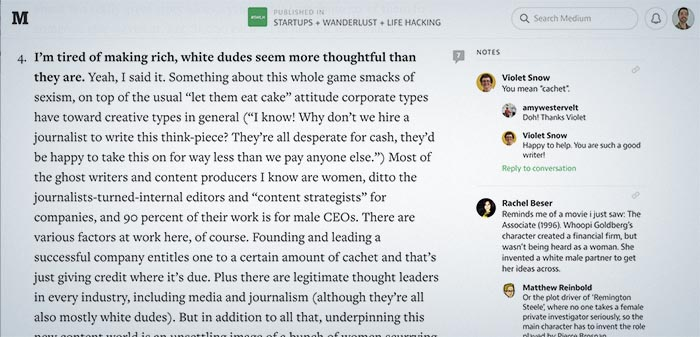 Screenshot of comments in Medium