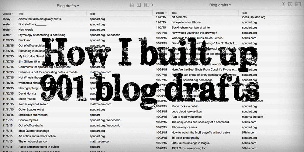 How I built up 901 unpublished blog drafts