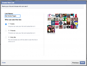 Finish your facebook list
