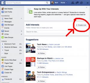 Create list facebook