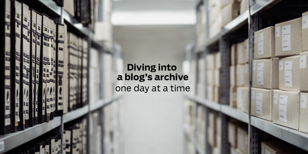 Diving into a blog's archive, one day at a time