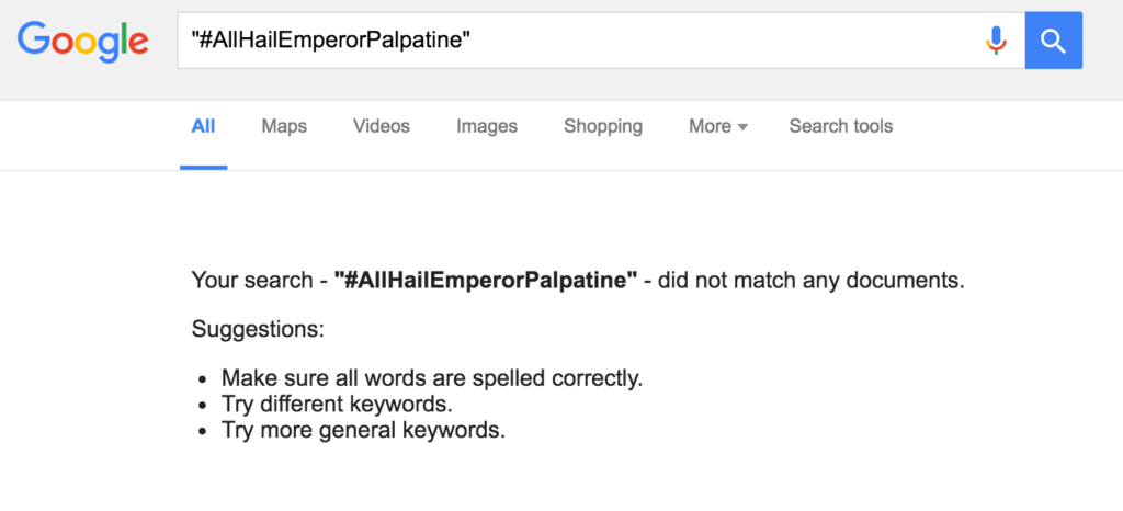 Google search results for #allhailemperorpalpatine
