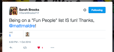 sarahbrooks717's reaction to Twitter fun people list