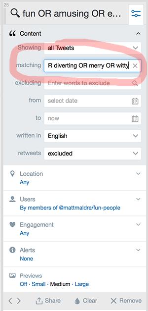More settings for Tweetdeck fun people search column