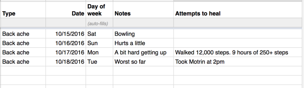 My google sheet for tracking my health