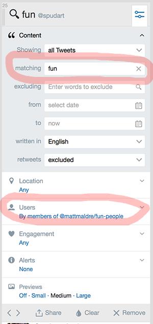 settings for Tweetdeck fun people search