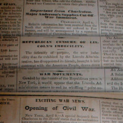 Newspapers reporting start of Civil War