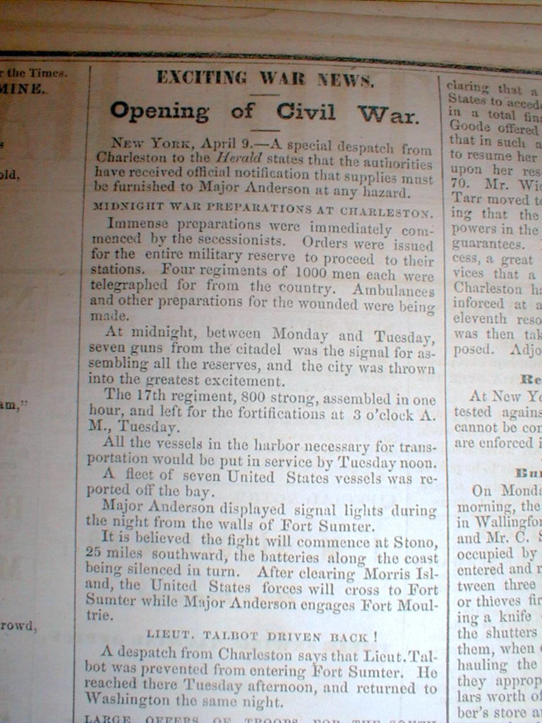 Opening of Civil War.