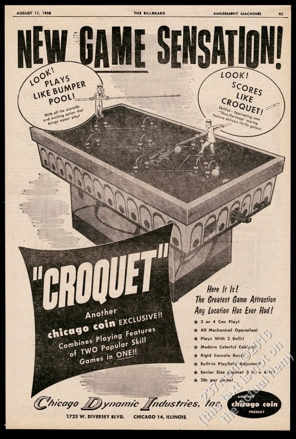 new game sensation croquet by chicago coin 1958