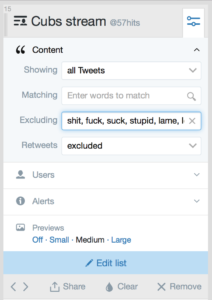 tweetdeck list: keyword exclusion