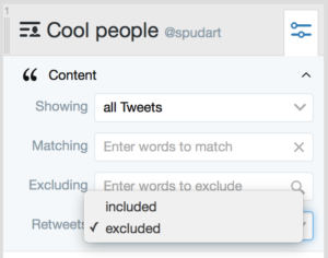 Tweetdeck: exclude retweets