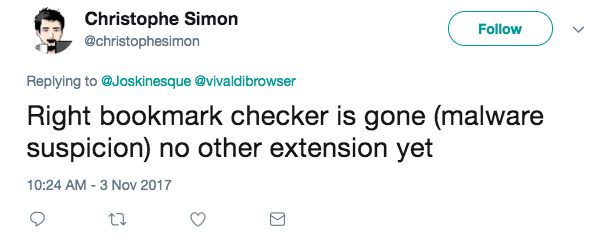 Right bookmark checker is gone (malware suspicion) no other extension yet