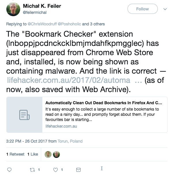 "The ""Bookmark Checker"" extension (lnboppjpcdnckcklbmjmdahfkpmgglec) has just disappeared from Chrome Web Store and, installed, is now being shown as containing malware."