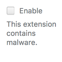 This extension contains malware