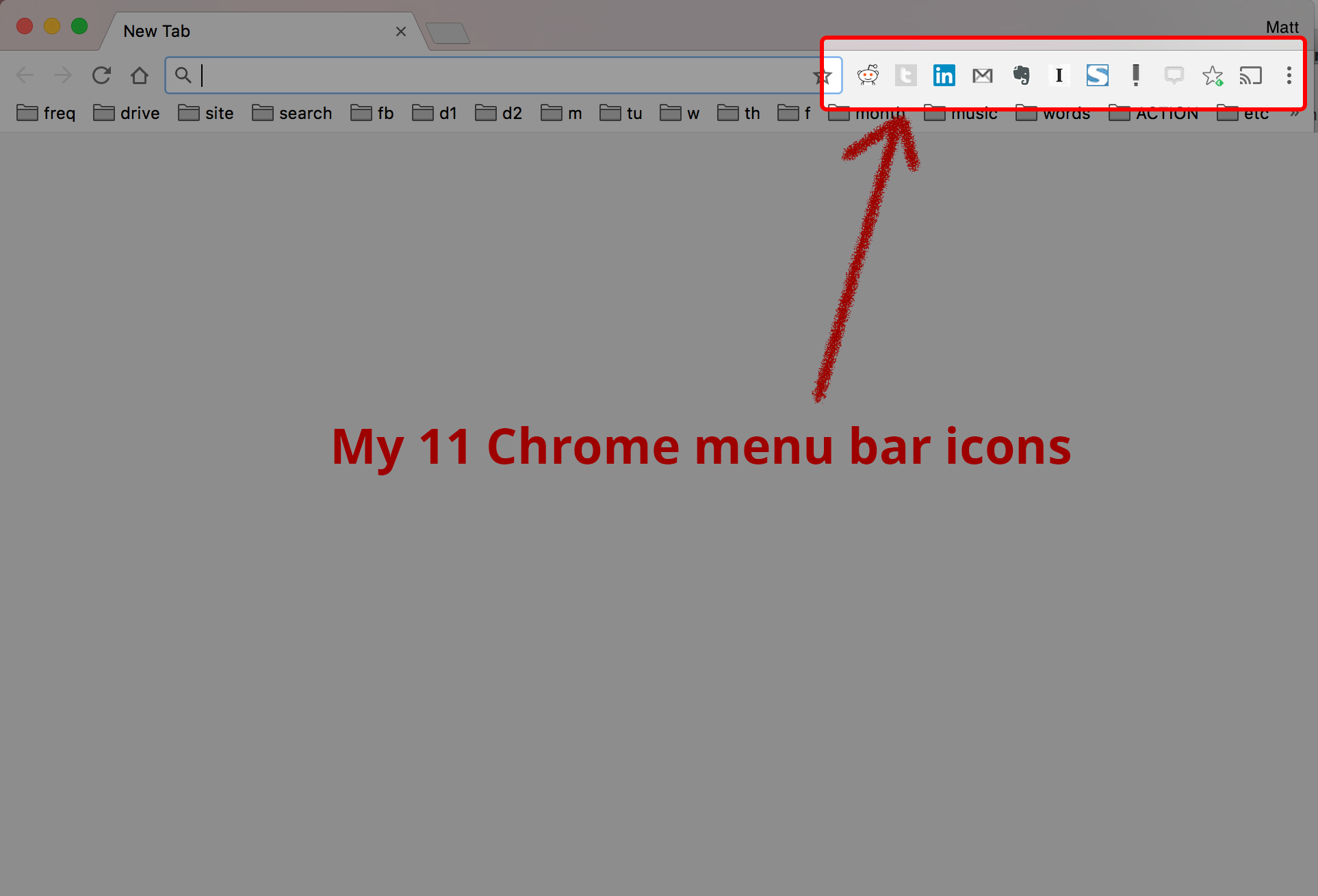 Screenshot of Chrome menu bar icons