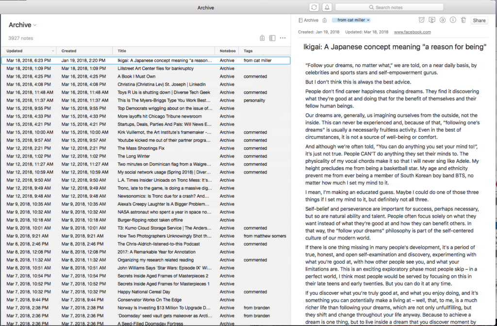 Evernote archive example