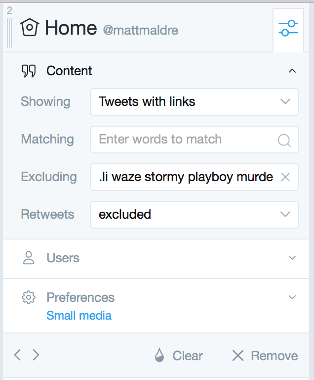 Tweetdeck filter: tweets with a link