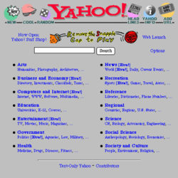 1995 Yahoo Directory homepage screenshot archive