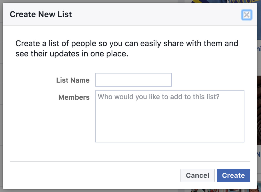 "A dialog box will appear called ""Create New List"""