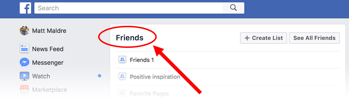 "A page titled ""Friends"" will appear."