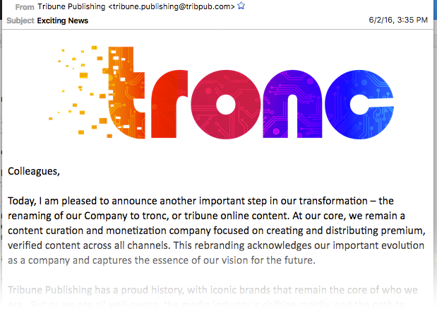 Tronc logo announced June 2, 2016