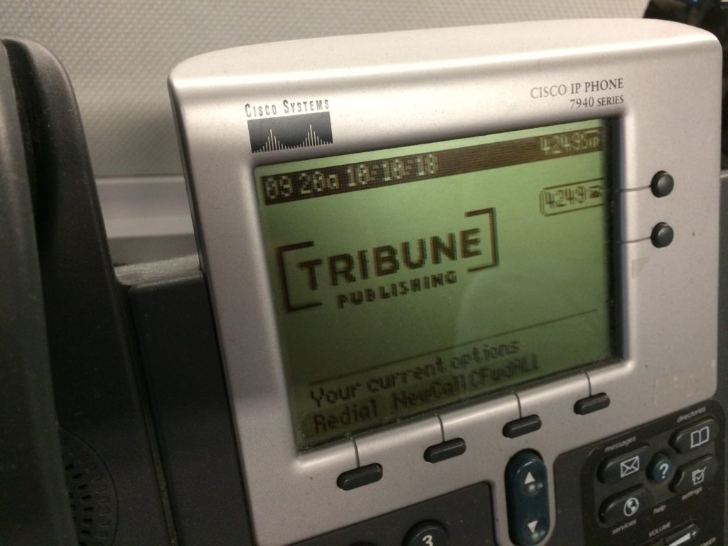 Tribune Publishing logo on Cisco phone