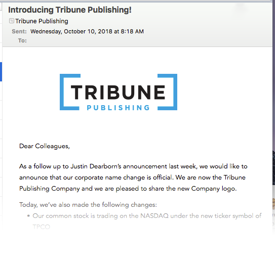 Tribune Publishing logo announced via email