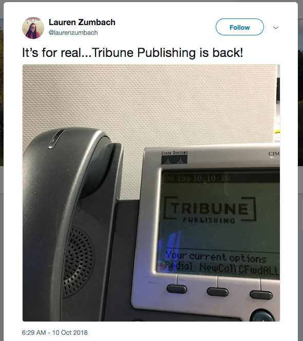 It's for real...Tribune Publishing is back!