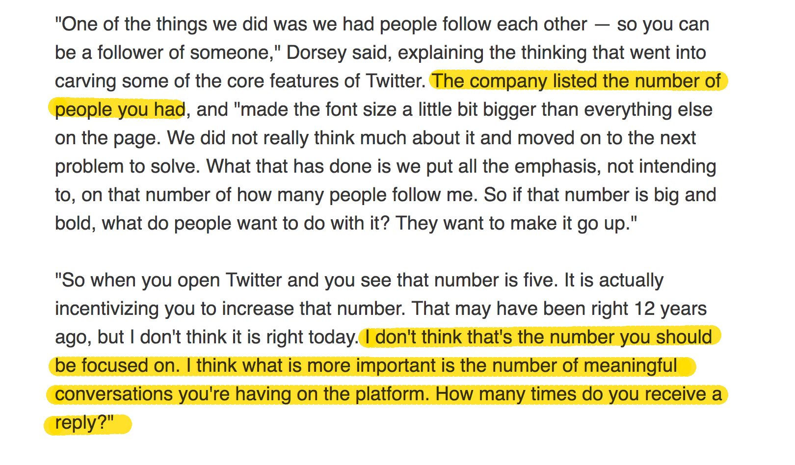 Twitter Jack Dorsey on Twitter follower count and reply rate