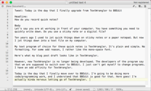 Screenshot of blog post draft in textwrangler