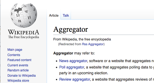 "Screenshot of a portion of the Wikipedia article for ""Aggregator"""