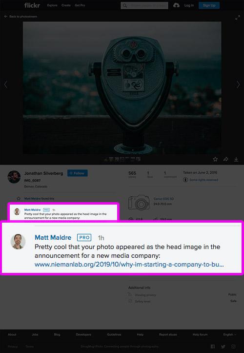Screenshot of flickr comment