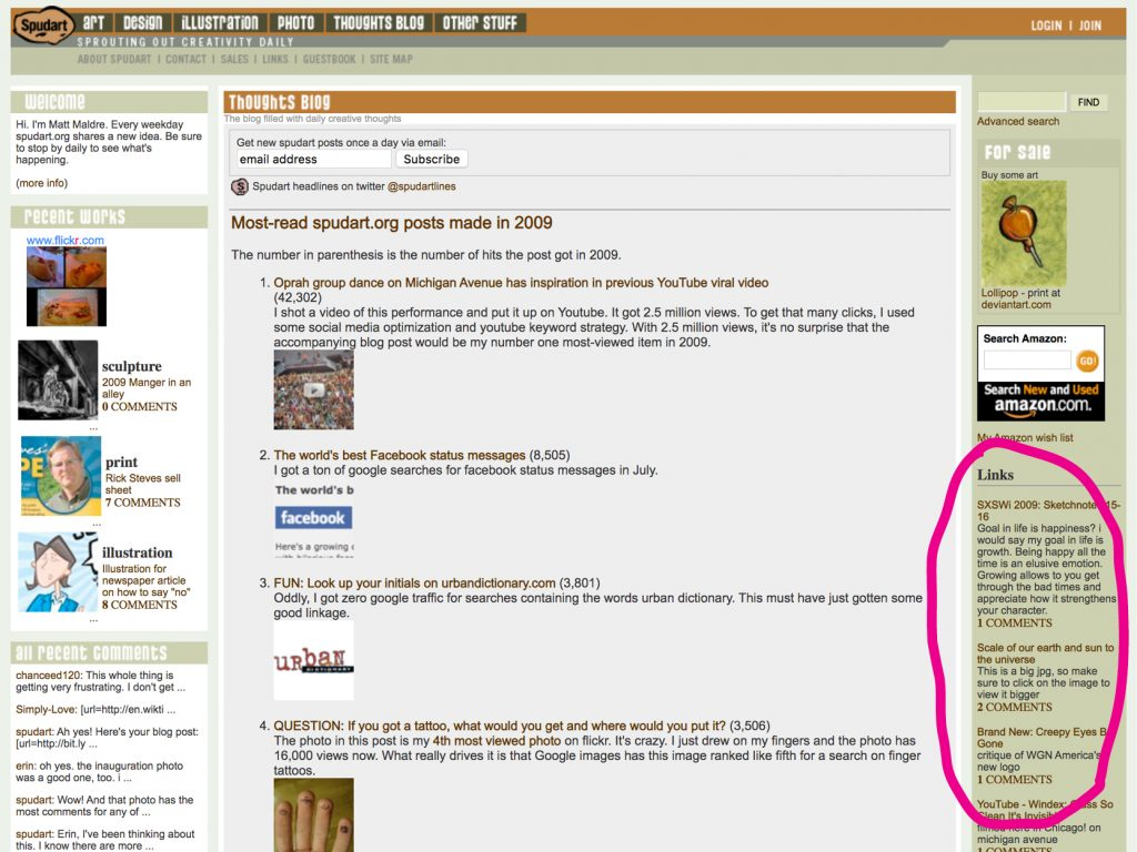 Screenshot of link sidebar on spudart.org in 2010