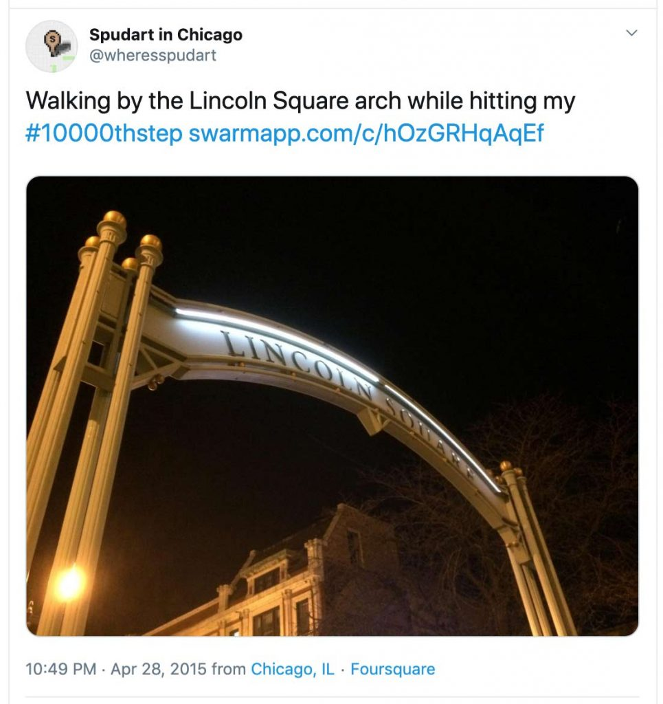Walking by the Lincoln Square arch while hitting my #10000thstep