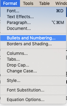 Microsoft Word Format Bullets and Numbering