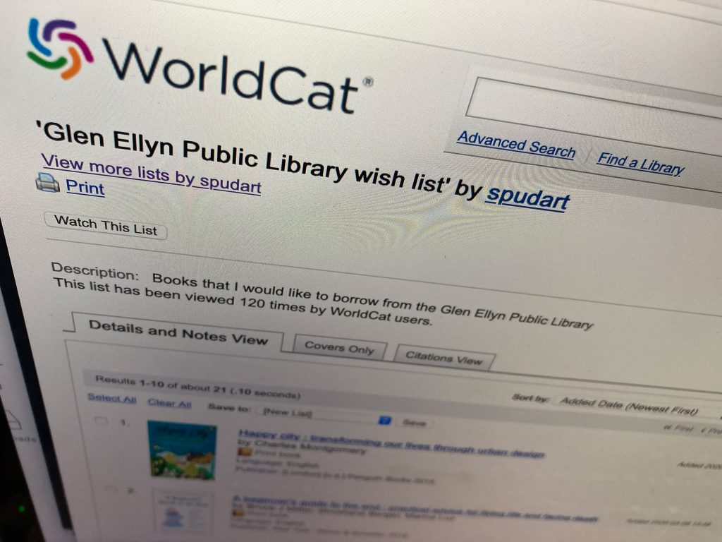 Photo of my library wish list on worldcat.org