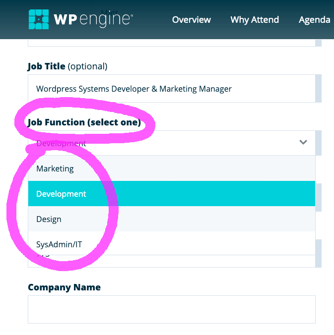 Screenshot of registration form for WP Engine US Summit 2020