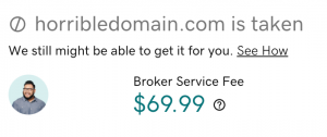 Godaddy screenshot: horribledomain.com is taken