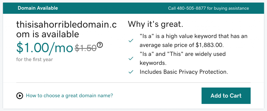 Godaddy screenshot: why it's great: thisishorribledomain.com