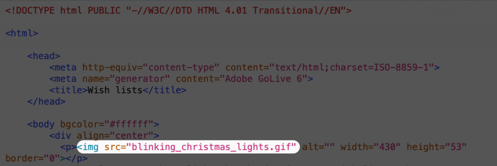 screenshot of source code for blinking Christmas lights