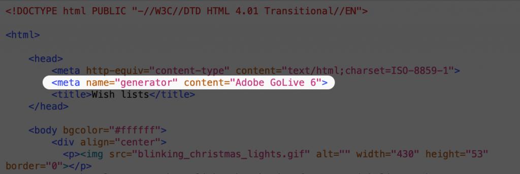 "Screenshot of code saying<meta name=""generator"" content=""Adobe GoLive 6"">"