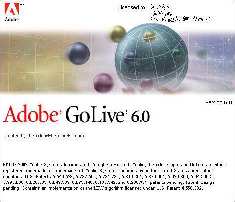 Splash screen for Adobe GoLive 6.0